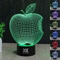 Apple lâmpada visual 3d led luzes da noite para o miúdo lampe lampara pois além de toque usb lâmpada de mesa do bebê dormir nightlight