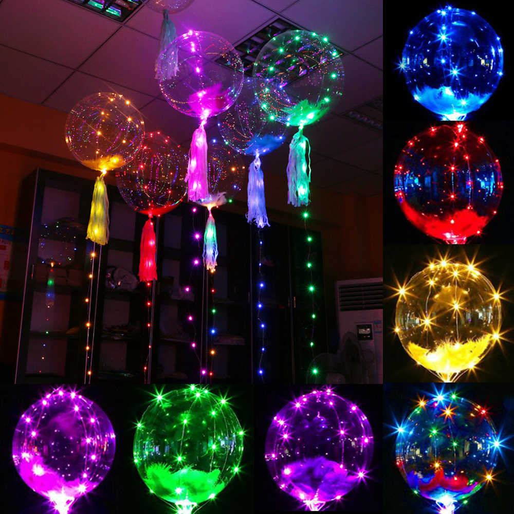 Colorful LED Bobo Balloon Transparent Glowing Led Helium Ballon Baby Shower Kids Toy Birthday Party Wedding Bridal Shower Decors