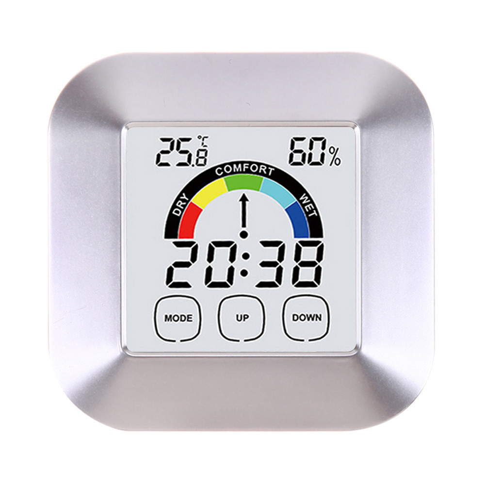 Mini Digital Thermometer Humidity Meter Room Temperature Indoor Lcd Thermohygrometer Hygrometer Htc 1 Ruangan Color Electronic Clock Screen Control Round Home