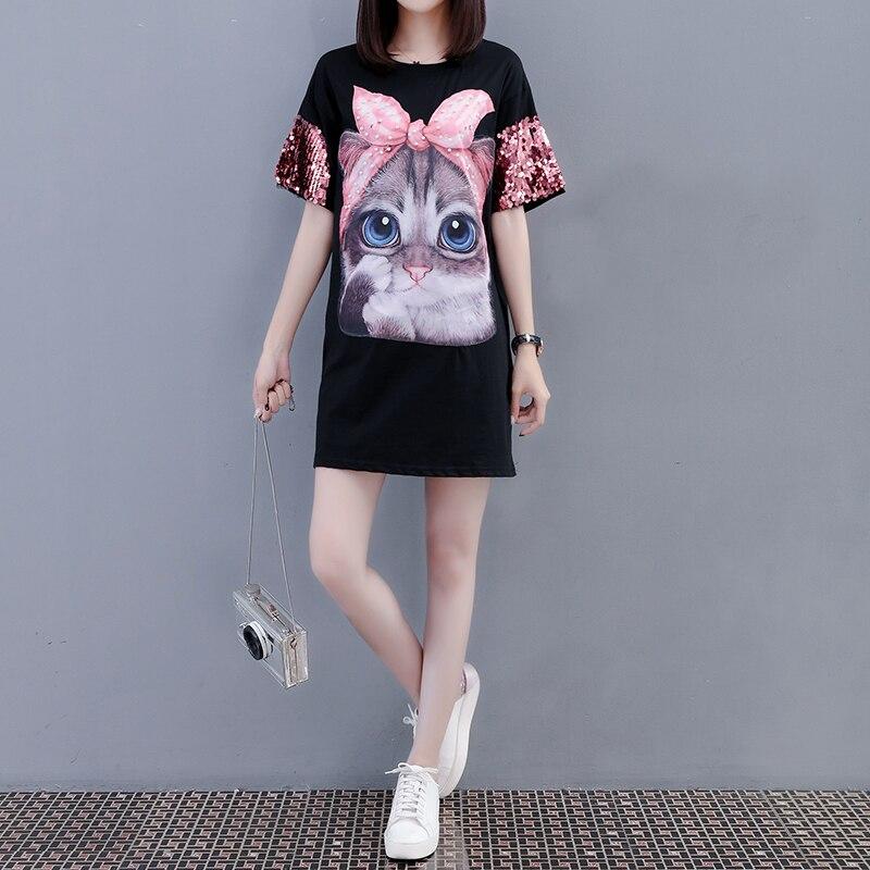 Harajuku Sequined T-shirts Women 2018 Kawaii Cat Print Long T shirt Female Plus Size Summer Tops tee shirt femme camisetas mujer
