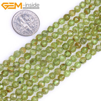 Gem Inside Natural Green Faceted Tiny Small Spacer Seed Peridots Beads For Jewelry Making Strand 15inches