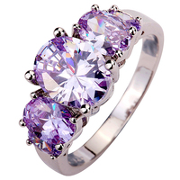 Women's Fashion Oval Light Purple Zircon Copper Engagement Jewelry Ring US 6-10