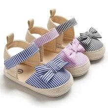 Горячая Стиль для девочки преддошкольного возраста детская обувь, новорожденные детское платье с бантом в полоску; мягкая подошва с пуховной внутренной частью, кроссовки