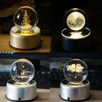 3D Rotation Crystal Ball Night Light Rotate Glass Ball LED Table Lamps Christmas Tree Elk Dandelion