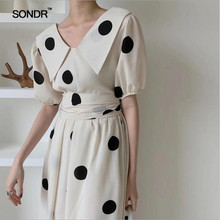 SONDR Women Dress V-Neck Bow Bandage Dot Color Matching Summer Black White Vintage Sexy Clothes 2019 New