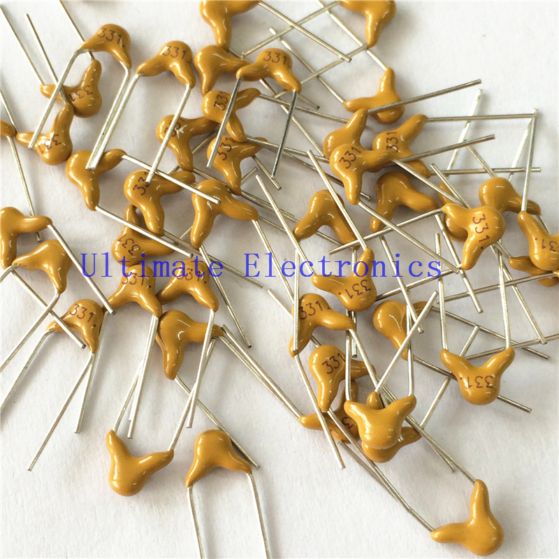 100pcs/lot  Multilayer Ceramic Capacitor 331 50V 330pF 331K P=5.08mm