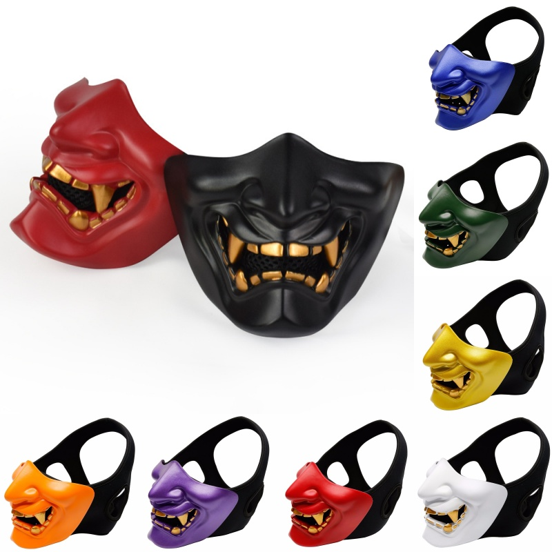 Airsoft Paintball Military Tactical Prajna Half Face Mask Samurai Hannya Horror Skull Halloween Hunting Protective Half Masks