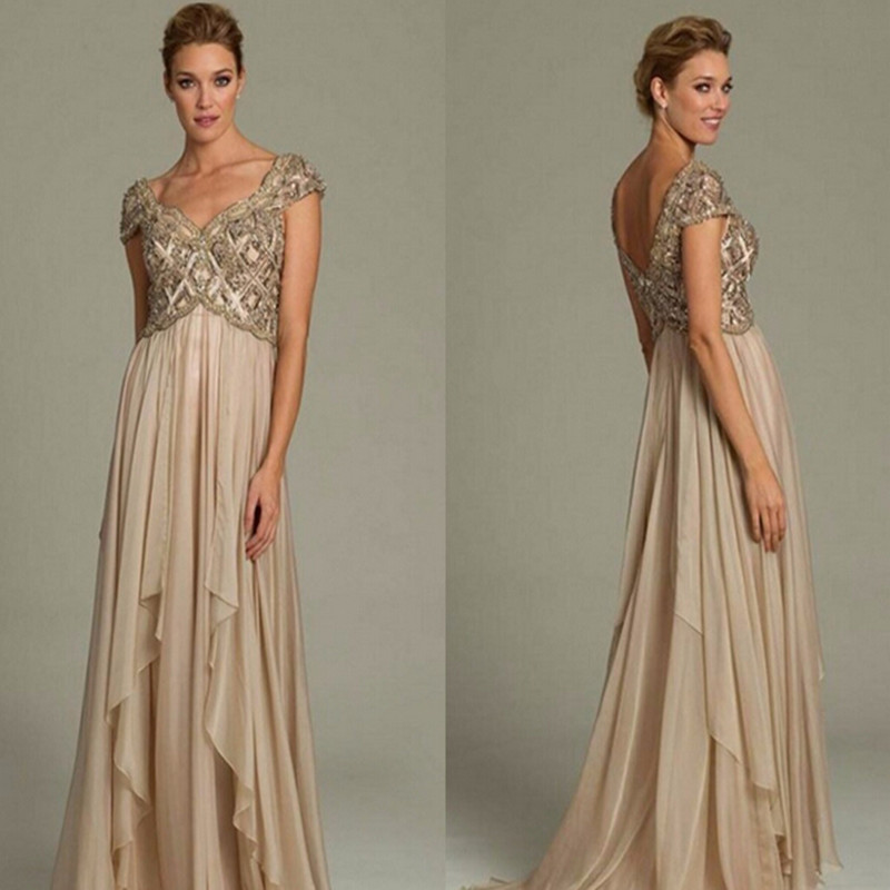 Wedding Gowns Mother Of The Bride: Long Mother Of The Bride Dresses Champagne Gold Crystal