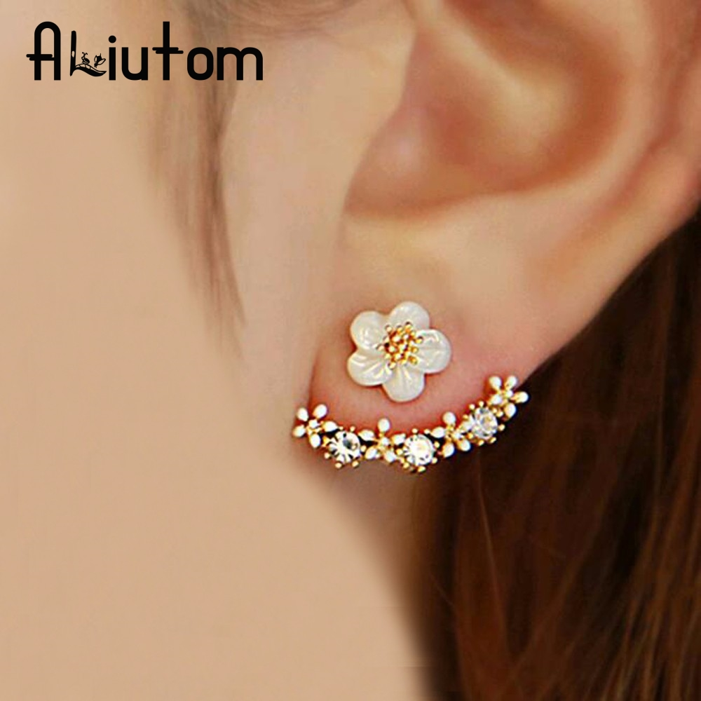 ALIUTOM 2019 Fashion Jewelry Cute Cherry Blossoms Flower Stud Earrings For Women Several Peach Blossoms Earrings