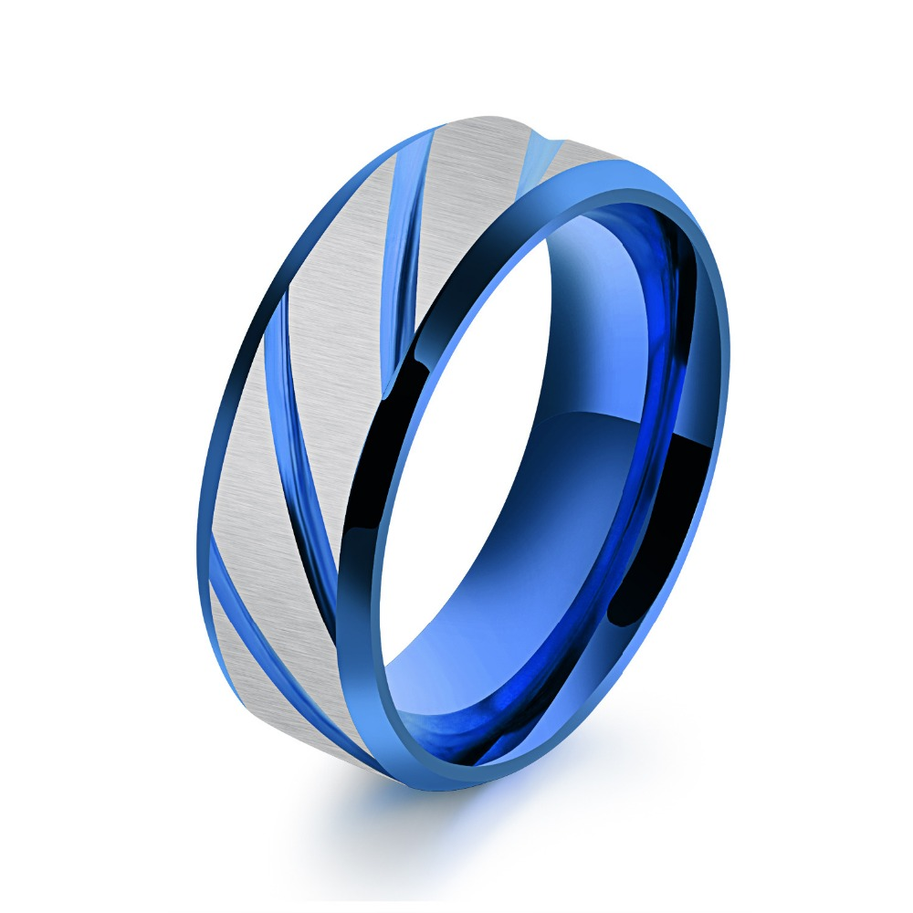 mens amare steel black stainless tutto ring gold rings in blue or products