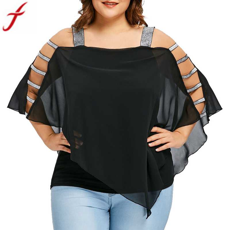 womens short sleeve tops and blouses 2018 Plus Size Lace chiffon blouse Summer Sexy Cold Shoulder Asymmetric Shirt Strapless Top Блузка