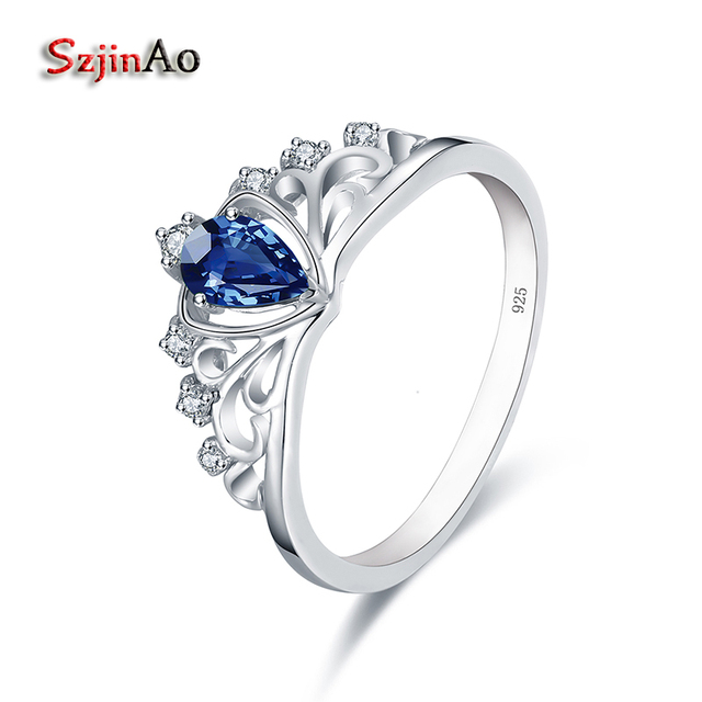 szjinao 925 sterling silver crown wedding rings for women 05ct heart shape blue crystal party - Crown Wedding Rings