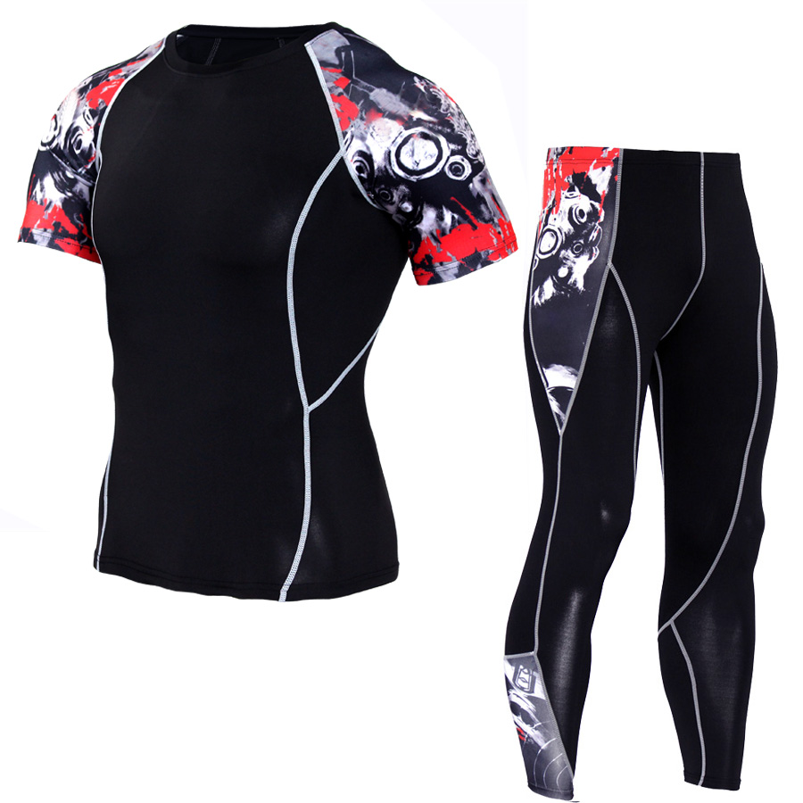 New Men Trainning Exercise Sport T-shirt Pant Sets Compression 3D Wolf Print Tights Tops Leggings Fitness Grapple MMA Gym Sets