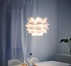 Белый цветочный светильник ing, креативный скандинавский черный железный ПВХ подвесной светильник, простой для гостиной, спальни, столовой, ...