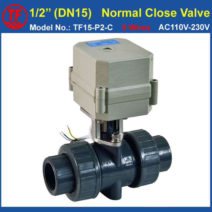 ФОТО DN15 PVC 5 Wires Normal Close Valve With Signal FeedbackTF15-P2-C BSP/NPT 1/2'' AC110V-230V 10NM On/Off 15 Sec Metal Gear
