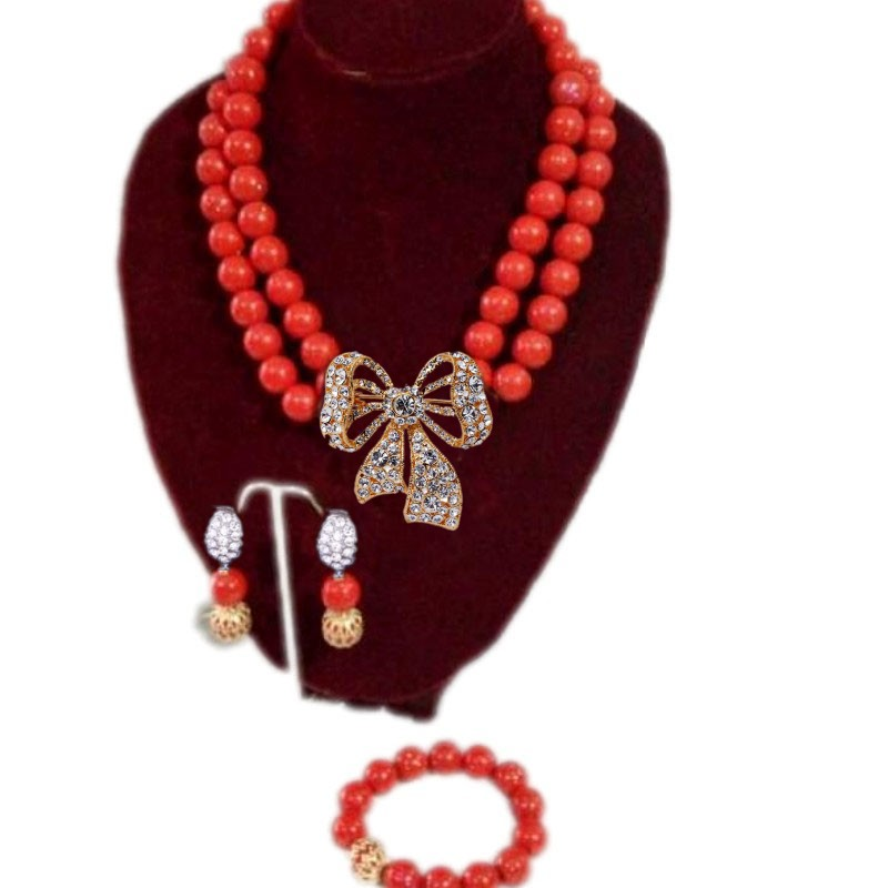 Genuine Red White Orange Coral Necklace Set Wedding Beads Edo Bridal Jewelry Set For African Women Fashion Jewellery China 2018Genuine Red White Orange Coral Necklace Set Wedding Beads Edo Bridal Jewelry Set For African Women Fashion Jewellery China 2018
