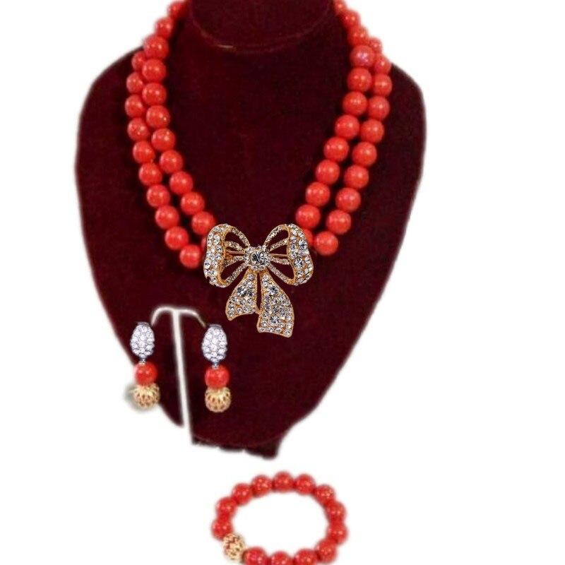 Véritable rouge blanc Orange corail collier ensemble de perles de mariage Edo ensemble de bijoux de mariée pour les femmes africaines bijoux de mode chine 2018