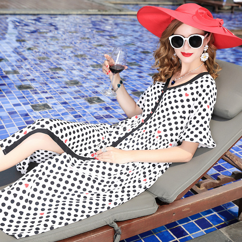 Vestidos Europe Summer Women Ukraine 2018 New V Neck Hit Color Loose Polka Dot Printing Beach