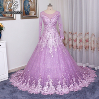 Snow Tulle Half Sleeves Sheer High Quality Lace Lilac Wedding Dress With Color Bling Bling Rhinestones