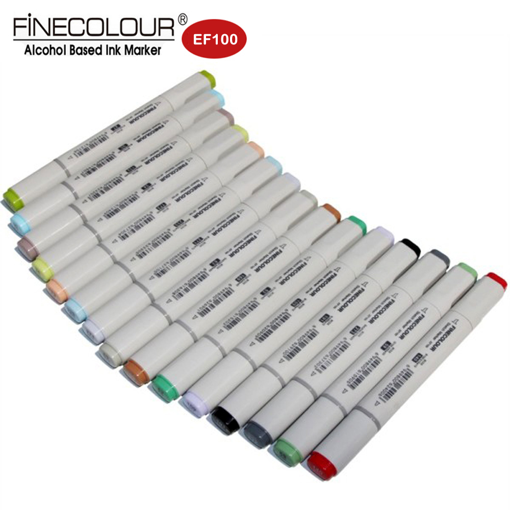 Finecolour EF100 Twin Alcohol Art Marker Manga Pens 12pcs Skin/landscape/Architecture Markers Set Drawing Anime Better Touchnew sketch color marker pen finecolour architecture alcohol based art markers 36 48 60 72 colors set manga marker for drawing
