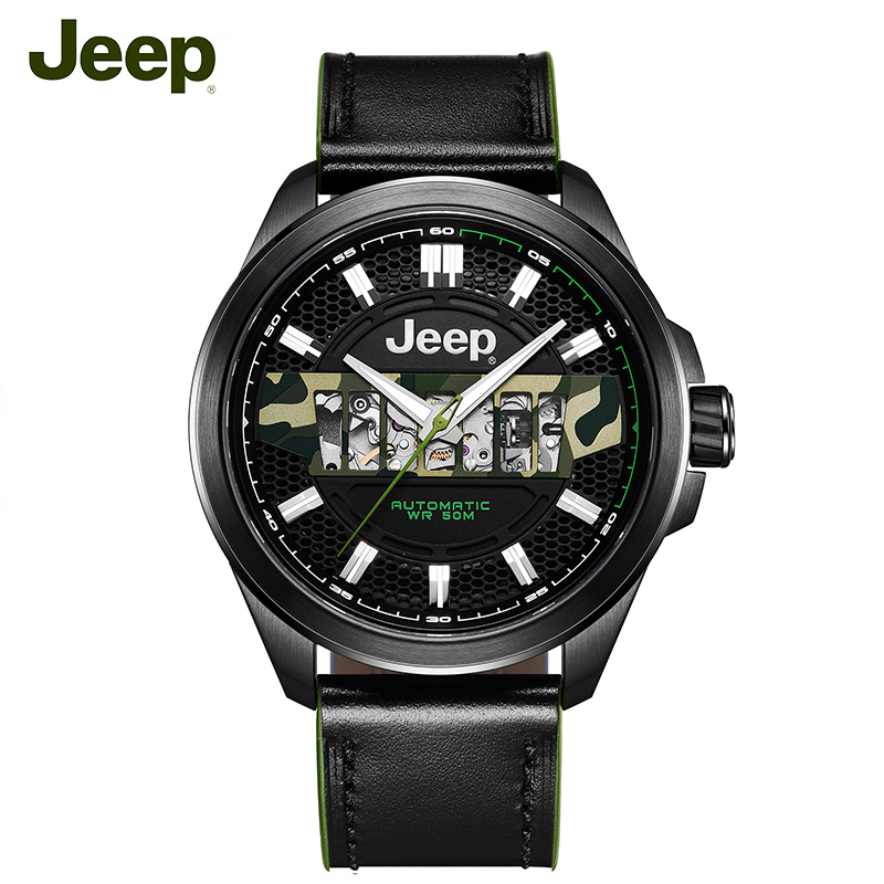 Jeep Original Mens Mechanical Watches Grand Cherokee Seri 50M Waterproof Steel Hollow Luxury Brand Male Watch JPG900101MA