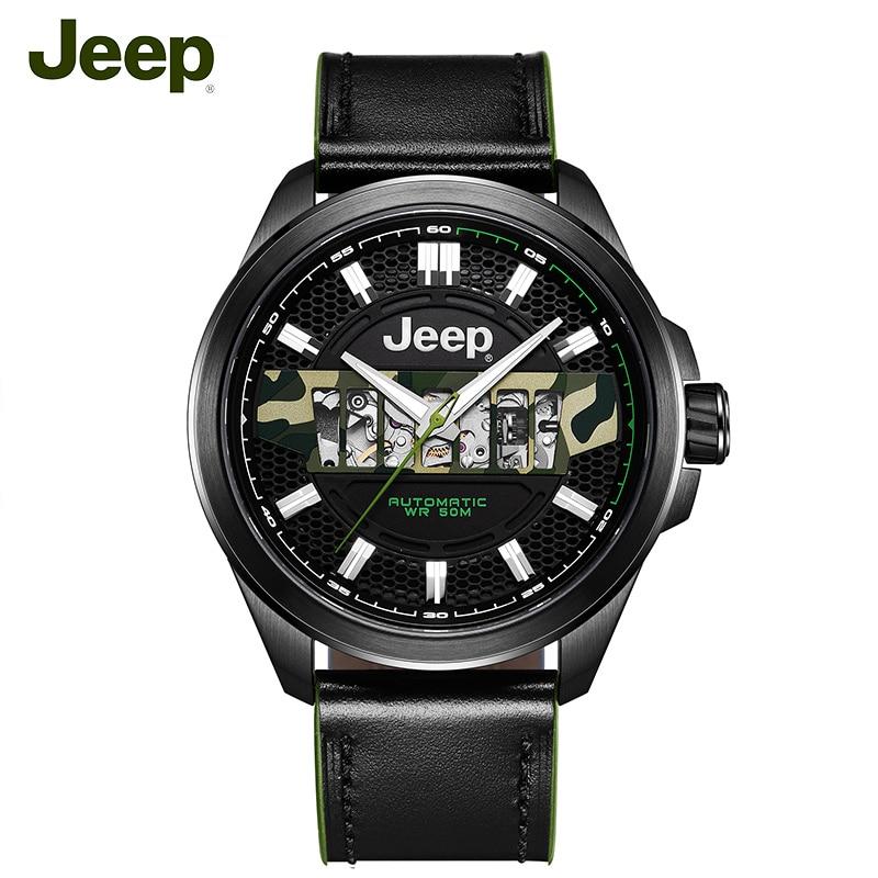 Jeep Originale Mens Orologi Meccanici Grand Cherokee Seri 50 m Impermeabile In Acciaio Cava di Lusso di Marca Maschile Orologio JPG900101MA