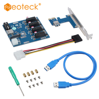 PCI E 1X Expansion Kit 1 to 4 Ports Switch Multiplier Hub Riser Card + USB Cable PCI express slot board