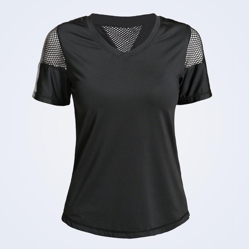 Eshtanga woman short sleeve shirt  Elastic Yoga Mesh Sports T Shirt Fitness Women's Gym Running Black Tops tee free shipping 2