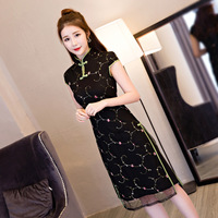 Summer New Chinese Ladies Traditional Cheongsam Mini Qipao Dress Floral Vestido De Festa Size S M