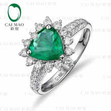 CaiMao 1.66 ct Natural Emerald 18KT/750 White Gold 0.48 ct Full Cut Diamond Engagement Ring Jewelry Gemstone colombian