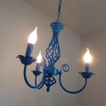 Multiple Chandelier lights blue iron candle lamps bedroom lamps rustic lighting 3 heads hotel lighting lamps