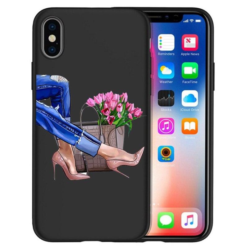 Модный Роскошный чехол для телефона на высоком каблуке с цветочным узором для девочек, чехол для iphone X XS Max XR 6 7 8 Plus 5S SE, мягкий чехол Etui - Цвет: 02