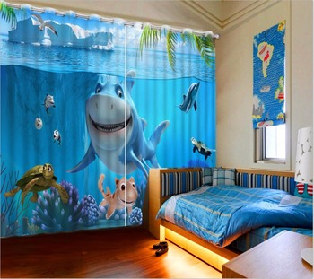 Modern Children Room Curtains 3D Photo Printing Curtain Drapes shark Decoration Blackout Sheer Curtains