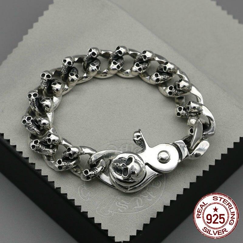 100% S925 sterling argent bracelet personnalité de mode classique punk jeunes bijoux dominatrice crâne forme à envoyer un cadeau de l'amour