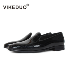 VIKEDUO Hot Black Patent Leather Loafers Shoes For Men Engraving Slip-On Mans Footwear Casual Luxury Brand Handmade Mens