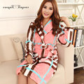 Hot fashion warm bathrobe full sleeve plaid sleepwear robe for women L-XXL robe de chambre polaire