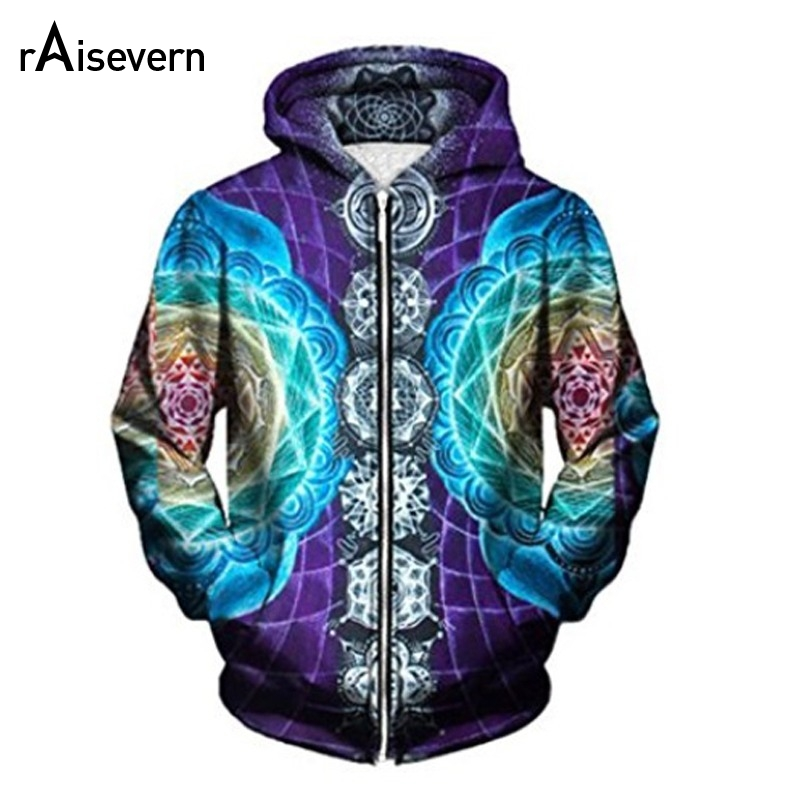 Raisevern Psychedelic Zipper Hoodies 3D Trippy Graphic Print Zip Up Hoodies Men Women Unisex Hoody Tops Dropship