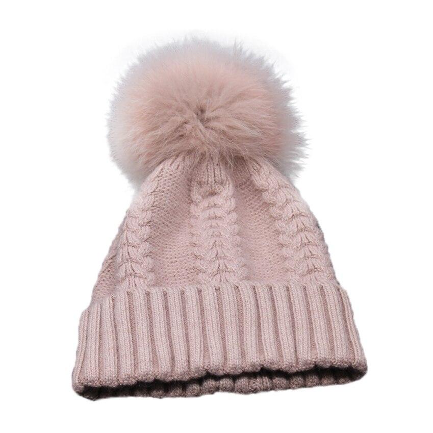 New Trendy 6Colors Beanie Women Winter Crochet Hat Fur Wool Knit Beanie Raccoon Warm Cap Oct2