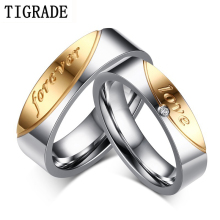 Tigrade 5mm 6mm Forever Lover Stainless Steel Couple Wedding Engagement Rings Romantic Gold Silver Anniversary Ring
