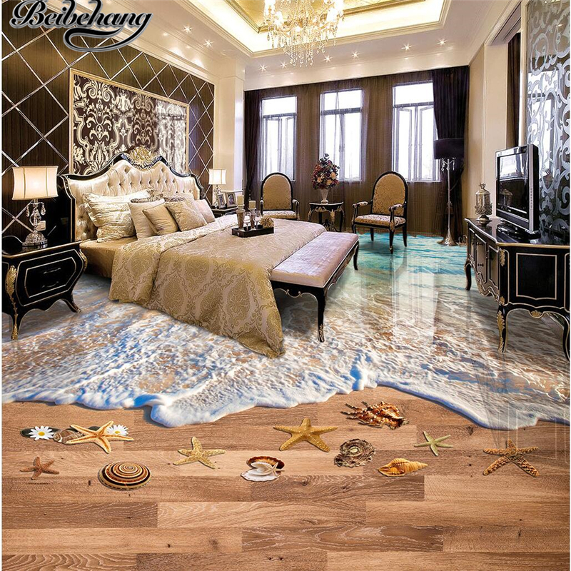 Audacious Beibehang Custom Flooring 3d Large Decorative Painting Waves Beach Sand Bathroom 3d Floor Tiles Three-dimensional Painting