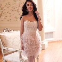 Сексуальные милые мини короткие жемчужные перья Русалка коктейльные платья 2016 Robe De Cocktail розовые шикарные Короткие вечерние платья на заказ