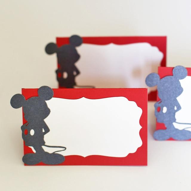 Caliente-venta 50 unids/lote Laser Cut Mickey Mouse Laser Nombre de la Tabla Tarjetas del Lugar Del Banquete de Boda del Favor de la Decoración de Navidad de Mesa tarjeta