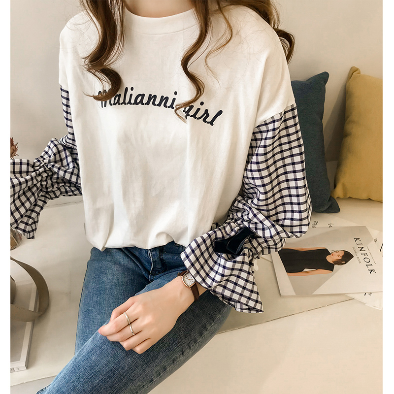 M-4xl Plus Size Cotton Casual T-shirts Women Plaid Patchwork Flare Sleeve O-neck Tshirts Harajuku Fake Two Piece Loose Tees Tops 2