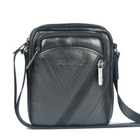 High Quality 2015 New Hot Sale Genuine Cowhide Leather Men Bag Fashion Men Messenger Bag Small
