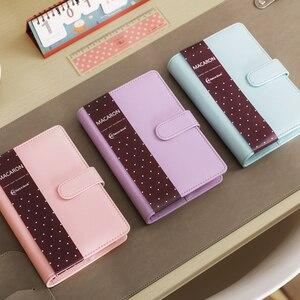 Image 2 - Macaron кожаный блокнот со спиралью, оригинальный офисный переплет, еженедельник, органайзер, милый дневник с кольцом, канцелярские товары A5 A6