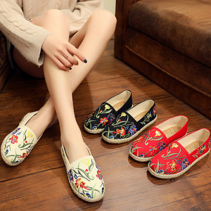 Image 2 - womens espadrille Embroider shoes Comfortable slippers Ladies Womens Casual Shoes Breathable Flax Hemp Canvas Blue Flamingo