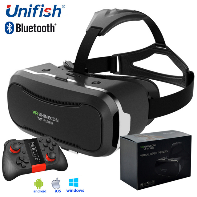 cf2ed35b73a8 VR SHINECON II Virtual Reality Headset Google Cardboard Head Mount 3D VR  Glasses for 4.7-6 inch Smartphone + Gamepad Mocute 050
