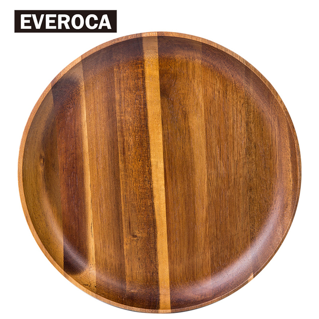 Wooden Tray Dinner Plate Acacia Food Dessert Tea Plate Round Square Rectangle