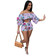 Women Two Pieces Set Jumpsuits Sexy Strapless Crop Top and Shorts Playsuits Fash