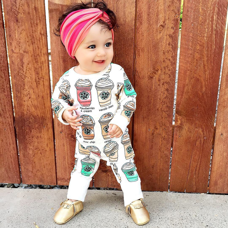 d6fe69f0eca0 Newborn Kids Baby Girls Long Sleeve Romper Printed Cool Drinks Cotton  Outfits -in Rompers from Mother   Kids on Aliexpress.com